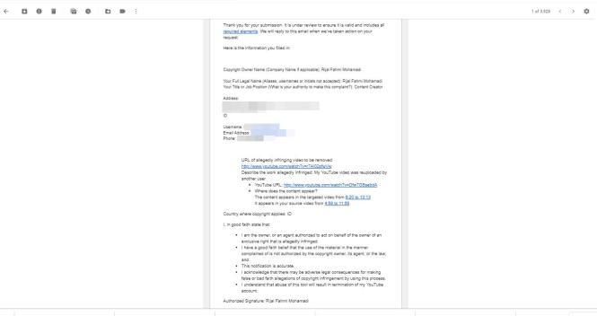 Setelah kirim form request removal akan diemail seperti ini.
