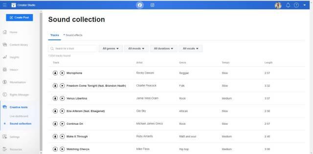 Musik gratis dari Facebook Audio Library AKA Facebook Sound Collection.