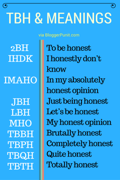 What does TBH mean infographic