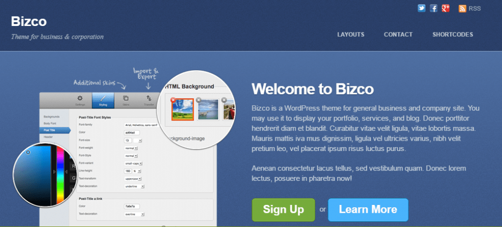 Bizco WordPress Theme
