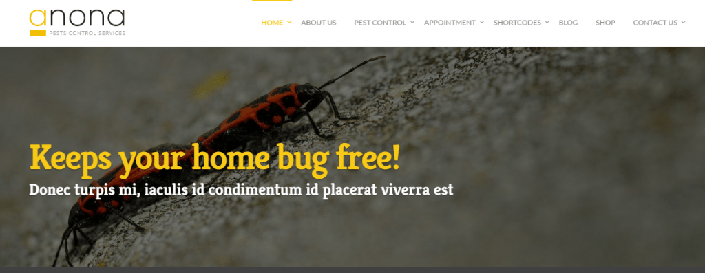 pest control service wordpress theme