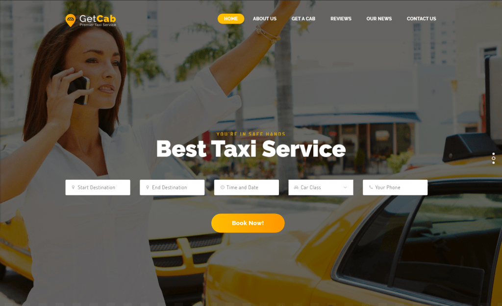 GetCab- Taxi Booking Hire WooCommerce Website Template