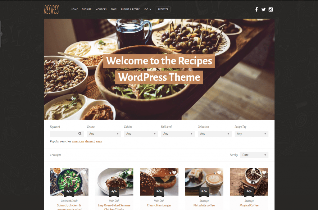 Recipes - Food Recipe WordPress Theme