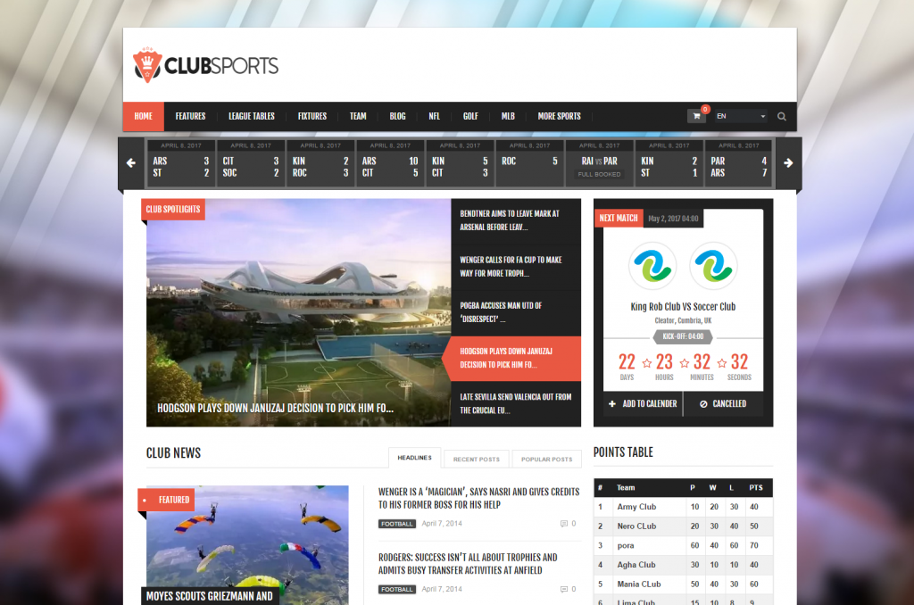 Club Sports - Fitness and Sports WordPress Theme