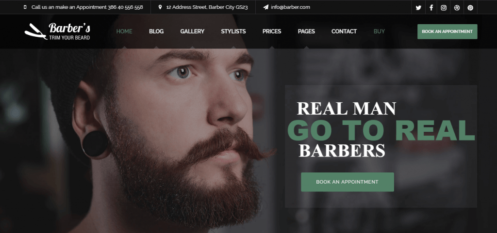 WordPress Theme For Trendy Barbers & Hairstyling Bars
