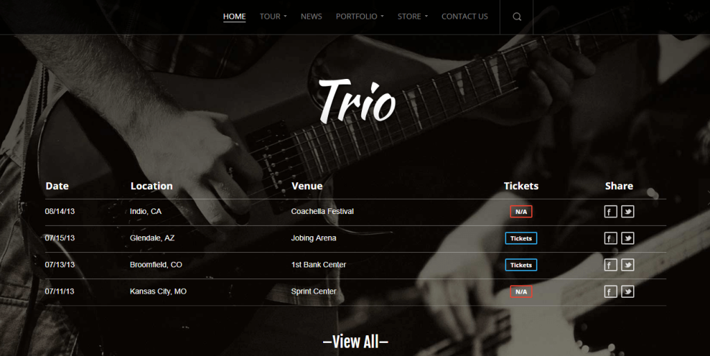 Band WordPress Theme For Musical Groups And Orchestras