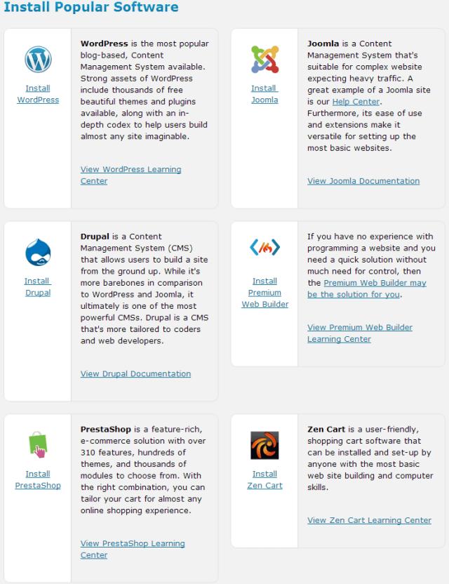 Web Hosting Hub Install proper CMS platform
