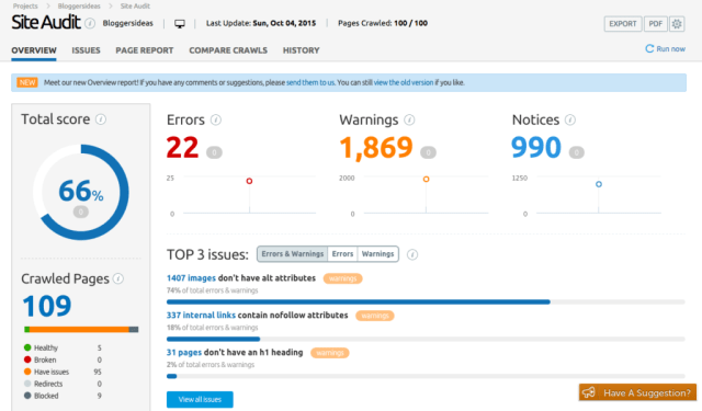 SEMrush Site audit feature