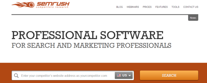 SEMrush service for competitors research shows organic and Ads keywords for any site or domain
