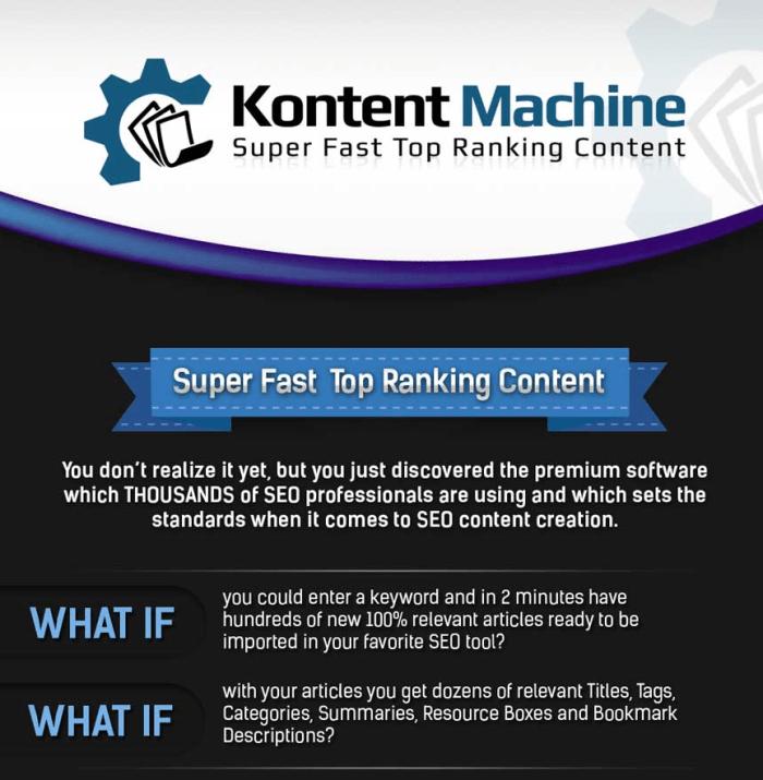 KONTENT MACHINE Super Fast Top Ranking Content Machine