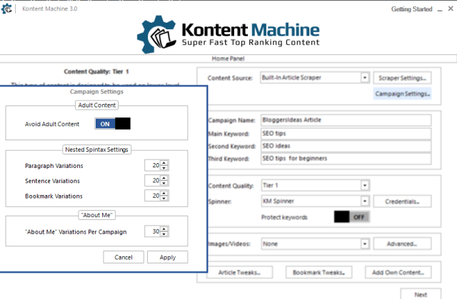 Kontent machine campaign settings