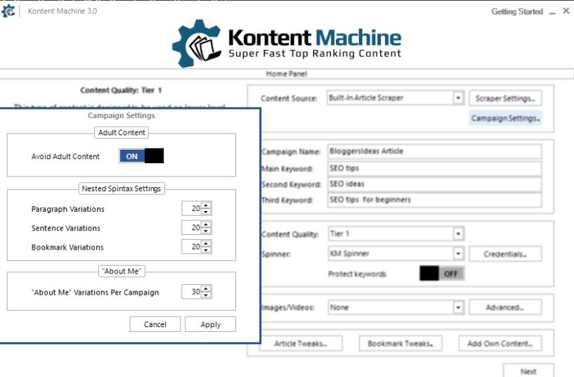 Kontent machine campaign settings