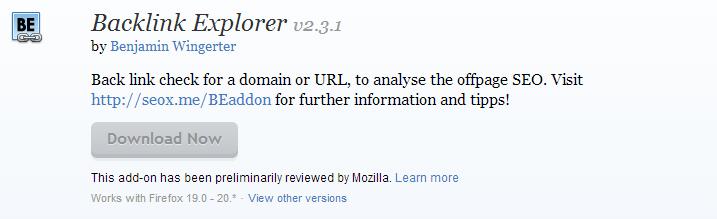 Backlink Explorer    Add ons for Firefox