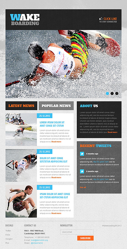 Wakeboarding Facebook Template