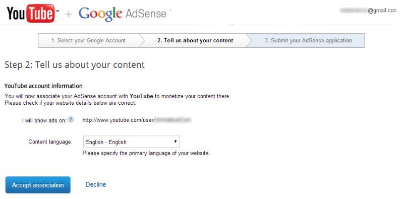 Setup AdSense - Moznitize youtube