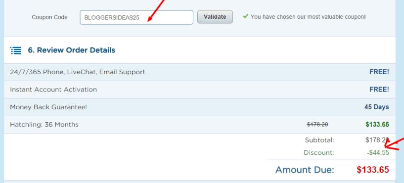 HostGator discount code applying
