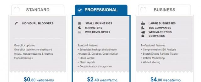 ManageWP pricing plans