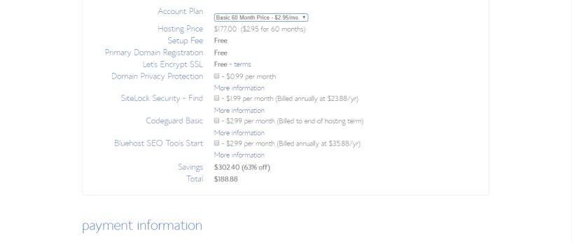 bluehost coupon- select plan