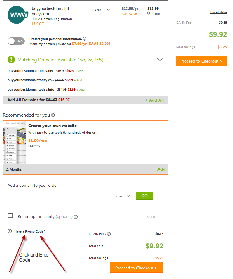 Steps to use the Godaddy Domain Promo Code: