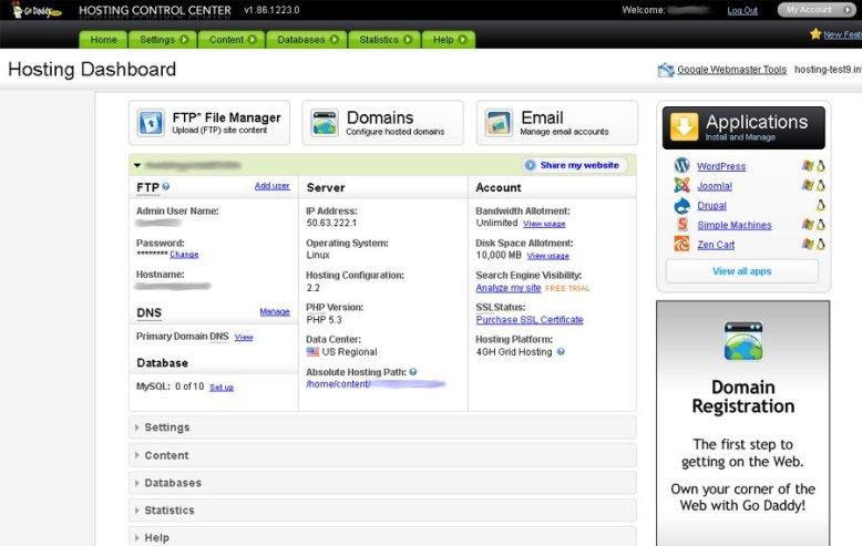 GoDaddy Control Panel -Bluehost vs Godaddy vs hostgartor