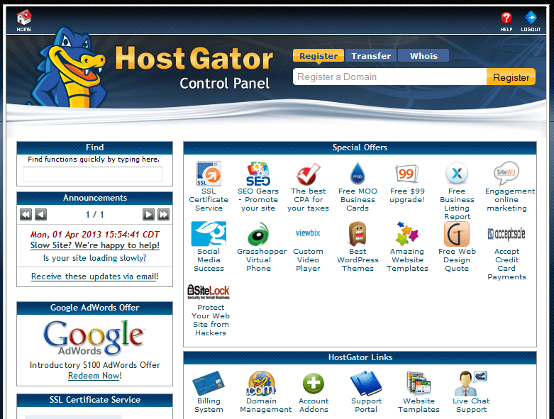 Bluehost vs HostGator vs Dreamhost - hostgator control panel