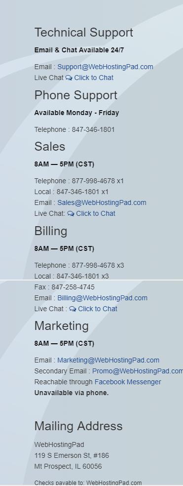 webhostingpad- contact us