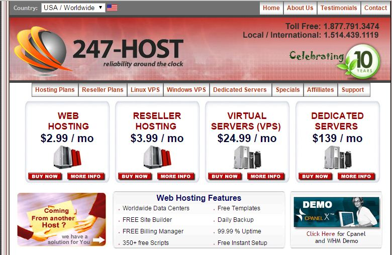 247-host review homepage