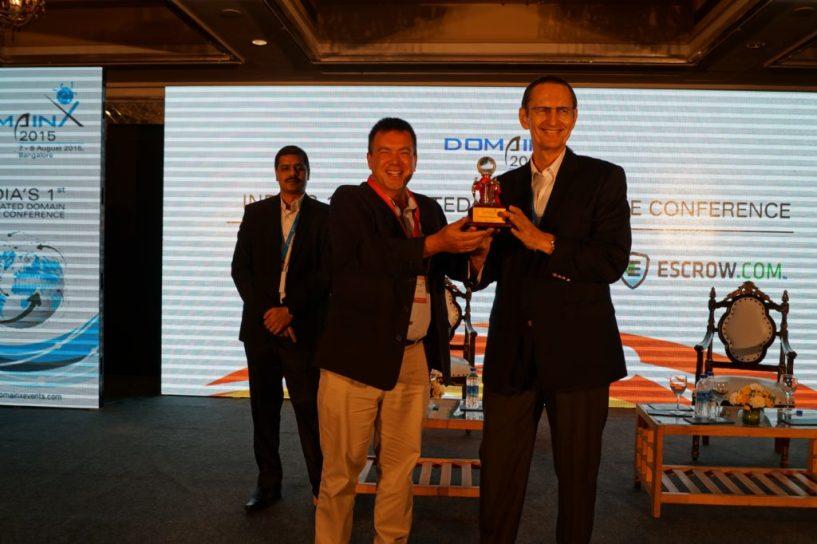 Domain X 2015 Ron Jackson winning award for  best domain magazine