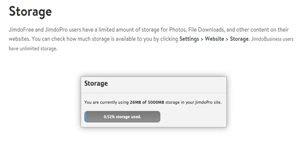 Jimdo review storage