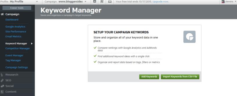 Raven Keyword Manager