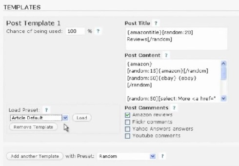WP robot review templates