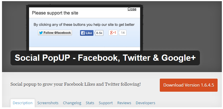 Social Popup WordPress Plugin