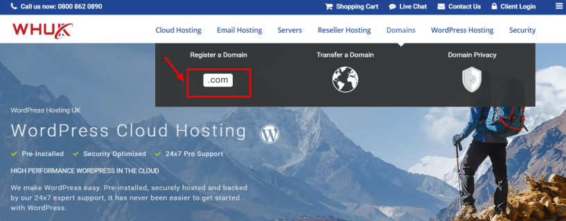 WEBHOSTING UK Discount Code - registration
