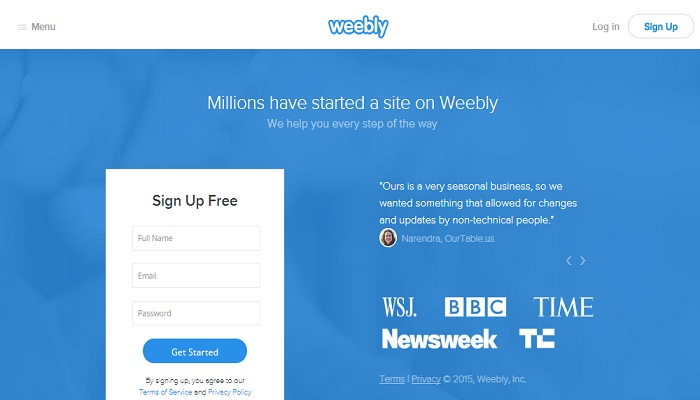Website builder Weebly height and width