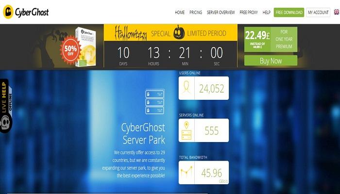 CyberGhost VPN- torrenting VPN service