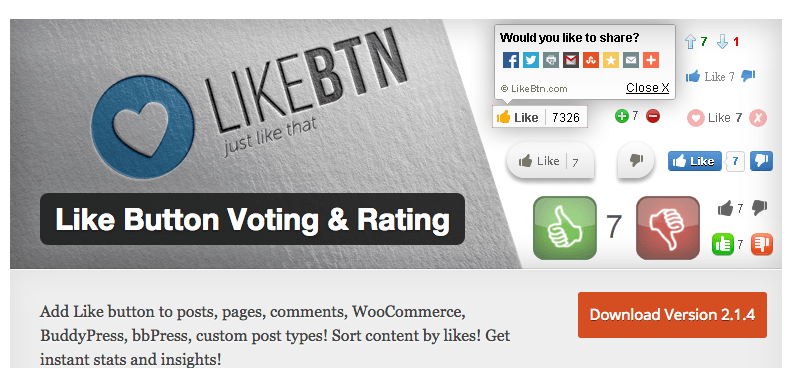 Like Button Voting wordpress plugin