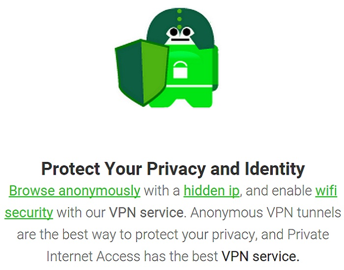 Private Internet Access feature