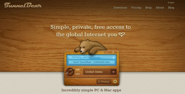 TunnelBear review homepage