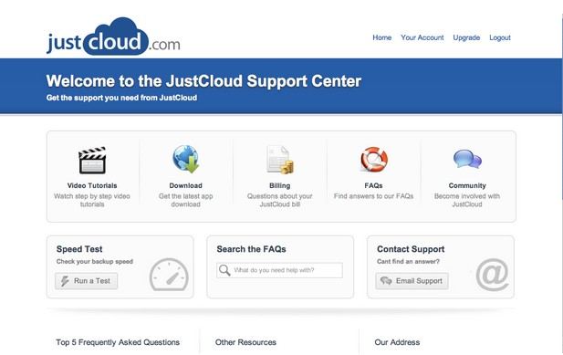 Justcloud customer support