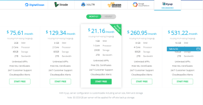 cloudways review- kyup pricing