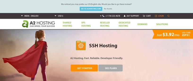 A2 Hosting SSH hosting provider