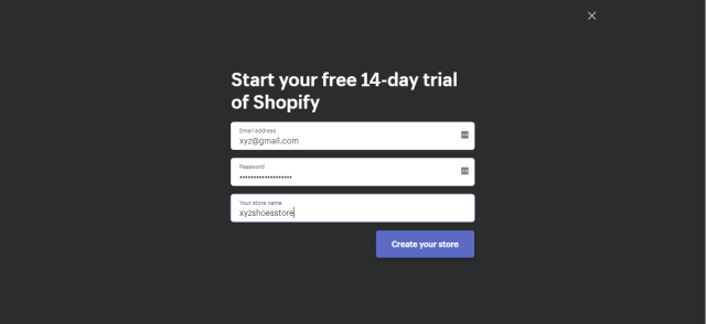 shopify create account