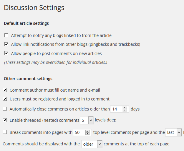 Comment settings - Website Building