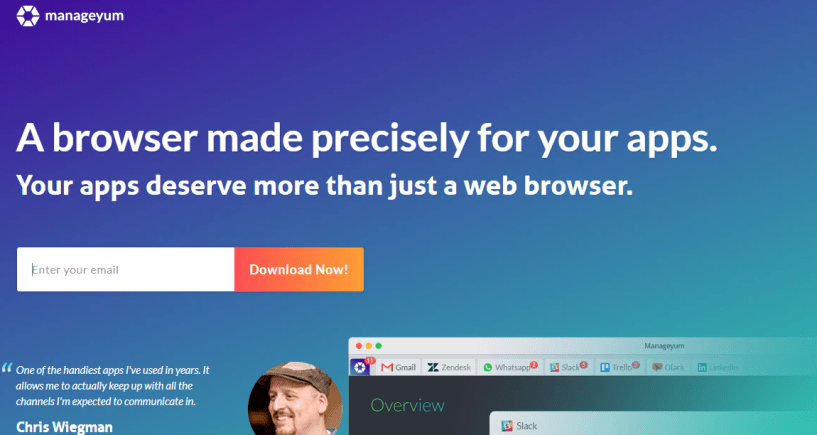 Manageyum Review - A browser made precisely for your apps.