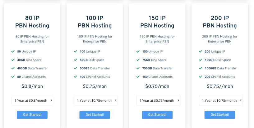 Seekahost PBN hosting pricing plans