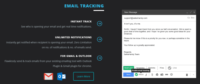 SalesHandy Review - Email Tracking Feature