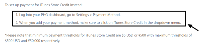iTunes Mode of Payment