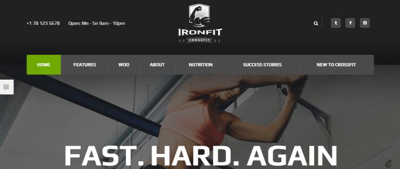 Ironfit Crossfit - WordPress Sports Theme