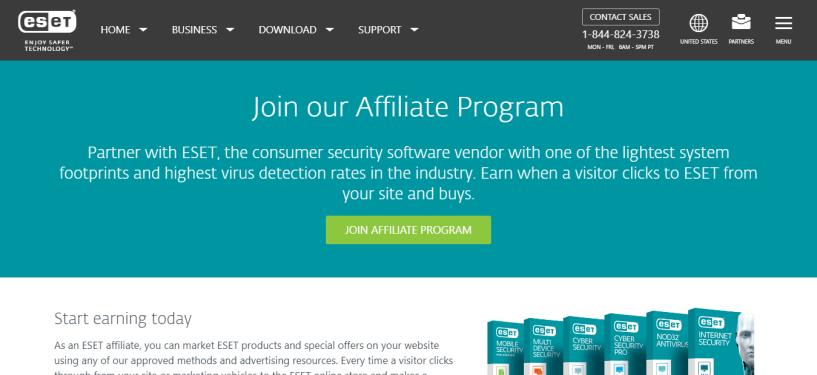 Online affiliates- ESET