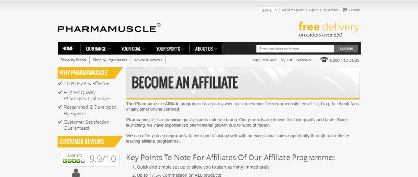 Pharma Muscles - Sports Nutrition Affiliate Programs
